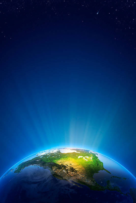Earth Art Print featuring the photograph Earth Radiant Light Series - North America by Johan Swanepoel