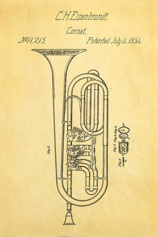 Famous Art Print featuring the photograph Eisenbrandt Cornet Patent Art 1854 by Ian Monk