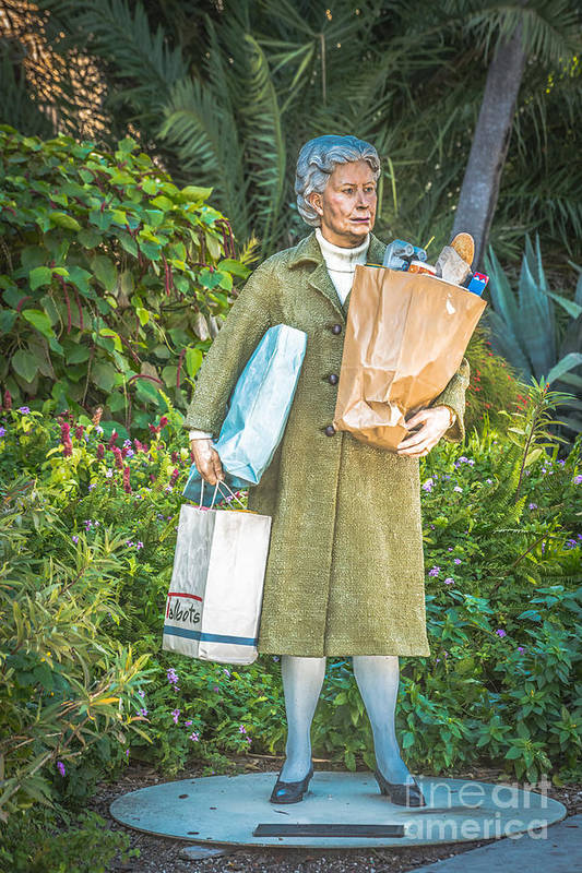 America Art Print featuring the photograph Elderly Shopper Statue Key West - Hdr Style by Ian Monk