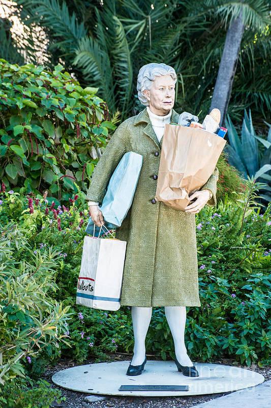 America Art Print featuring the photograph Elderly Shopper Statue Key West by Ian Monk