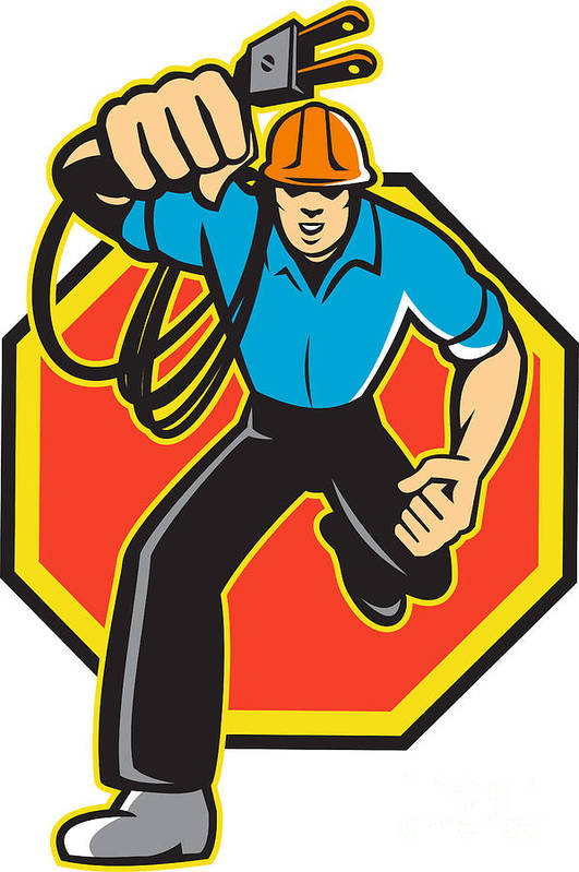 Electrician Art Print featuring the digital art Electrician Worker Running Electrical Plug by Aloysius Patrimonio