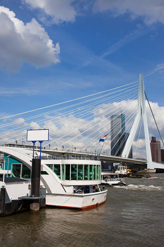 Rotterdam Art Print featuring the photograph Erasmus Bridge In Rotterdam City Downtown by Artur Bogacki