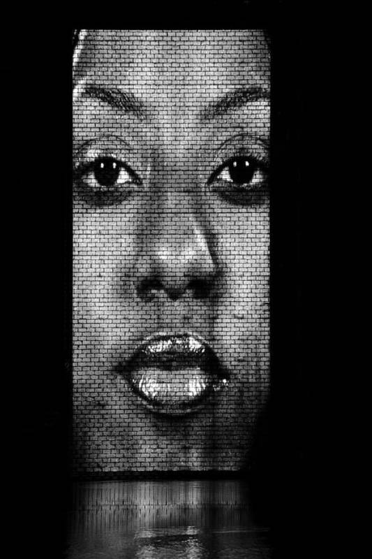 Mouth Art Print featuring the photograph Face To Face - Crown Fountain Chicago by Christine Till