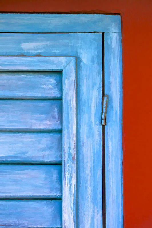 Abstract Art Print featuring the painting Faded Blue Shutter IIi by David Letts