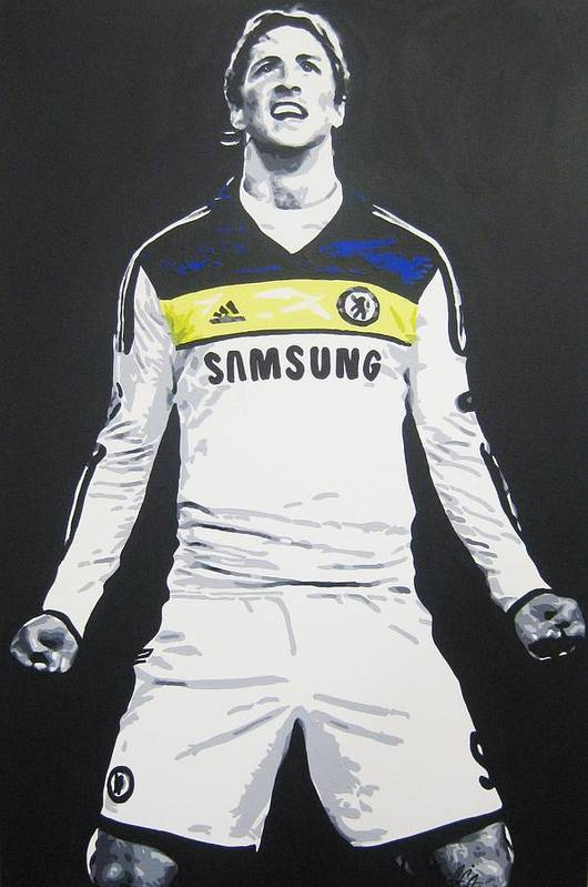 Fernando Torres Art Print featuring the painting Fernando Torres - Chelsea Fc by Geo Thomson