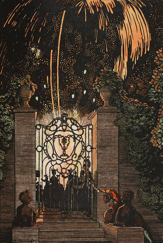 Somov Art Print featuring the painting Feu D Artifice by Konstantin Andreevic Somov