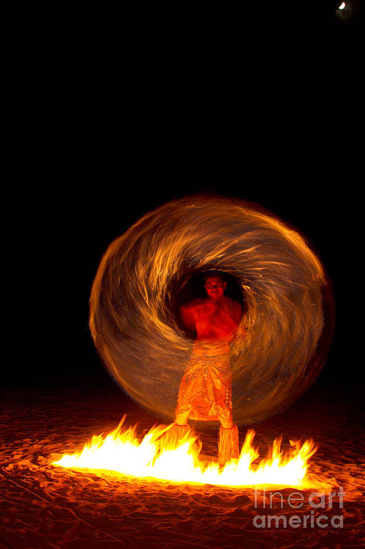 Fire Dance Art Print featuring the photograph Fire Dance by Laarni Montano