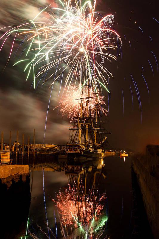 Salem Fireworks Art Print featuring the photograph Fireworks Exploding Over Salem's Friendship by Jeff Folger