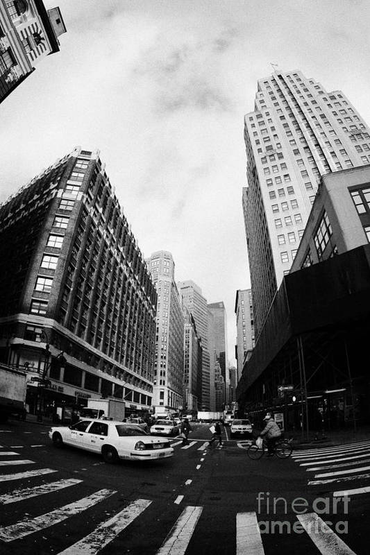 Usa Art Print featuring the photograph Fisheye Shot Of Yellow Cab On Intersection Of Broadway And 35th Street At Herald Square New York by Joe Fox