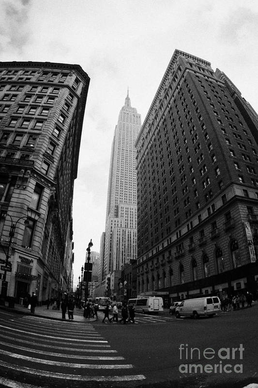Usa Art Print featuring the photograph fisheye shot View of the empire state building from West 34th Street and Broadway new york usa by Joe Fox