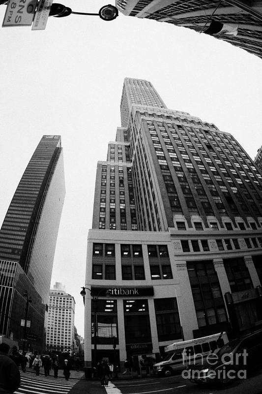 Usa Art Print featuring the photograph fisheye view of the Nelson Tower and 1 penn plaza in the background from junction of 34th street and by Joe Fox