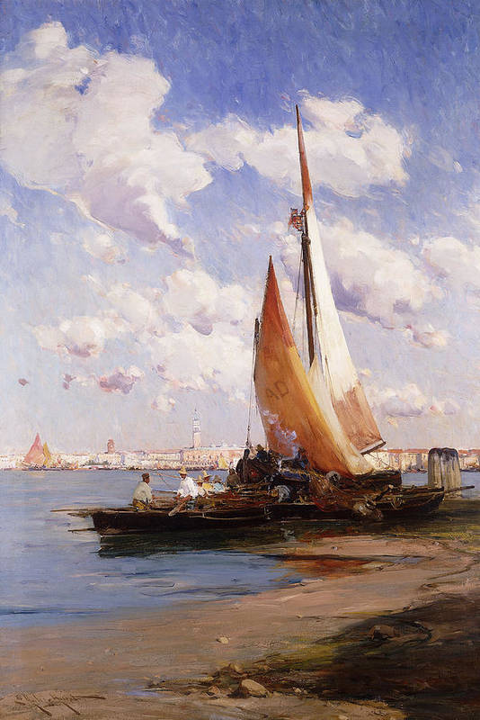 British Print featuring the painting Fishing Craft With The Rivere Degli Schiavoni Venice by E Aubrey Hunt