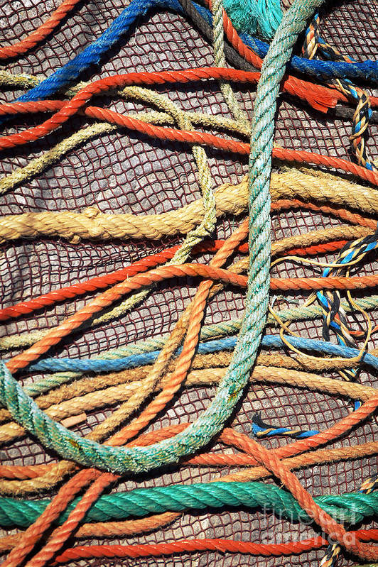 Abstract Art Print featuring the photograph Fishing Ropes And Net by Carlos Caetano