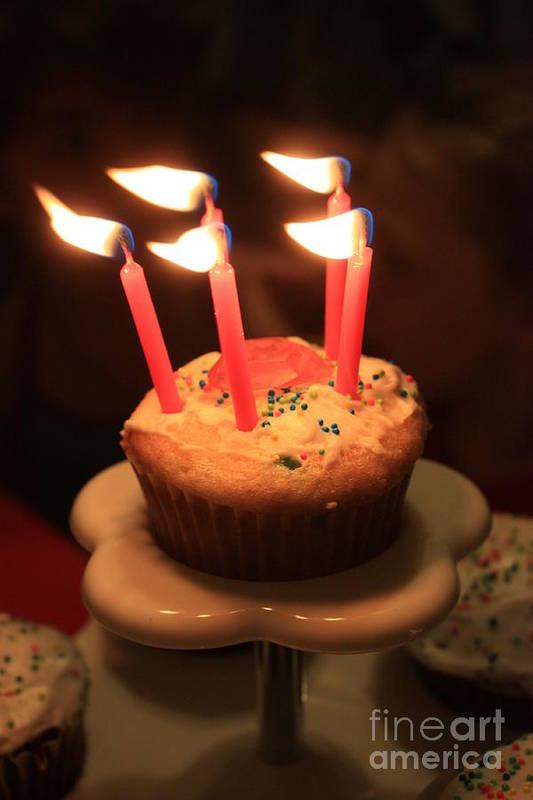 Cupcake Art Print featuring the photograph Flaming Birthday Cupcake Closeup by Robert D Brozek