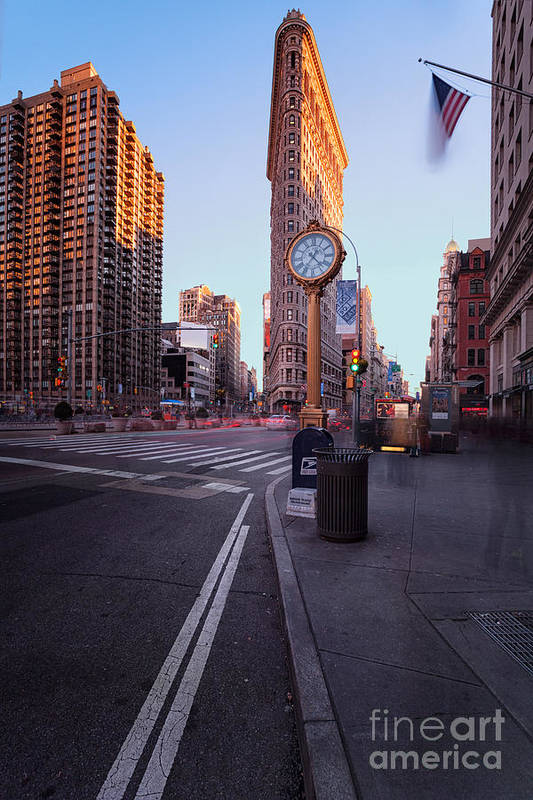 5th Avenue Clock Art Print featuring the photograph Flatiron Area In Motion by John Farnan