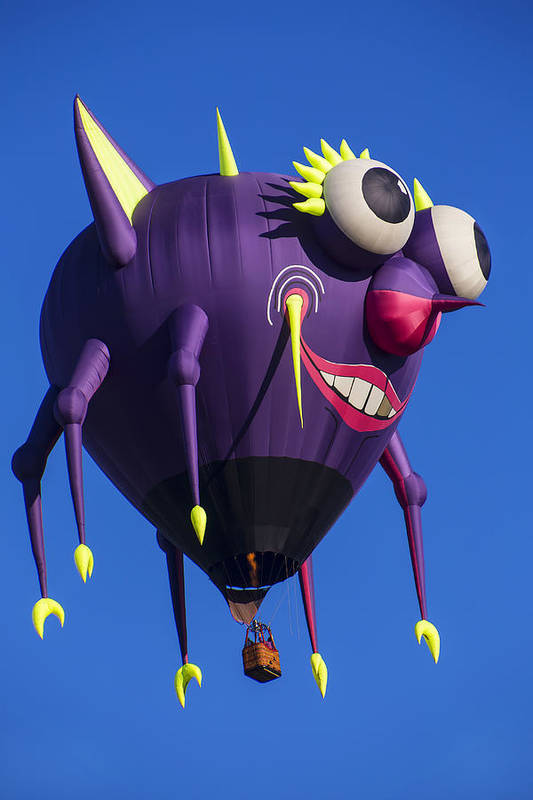 Purple People Eater Hot Air Balloon Art Print featuring the photograph Floating Purple People Eater by Garry Gay