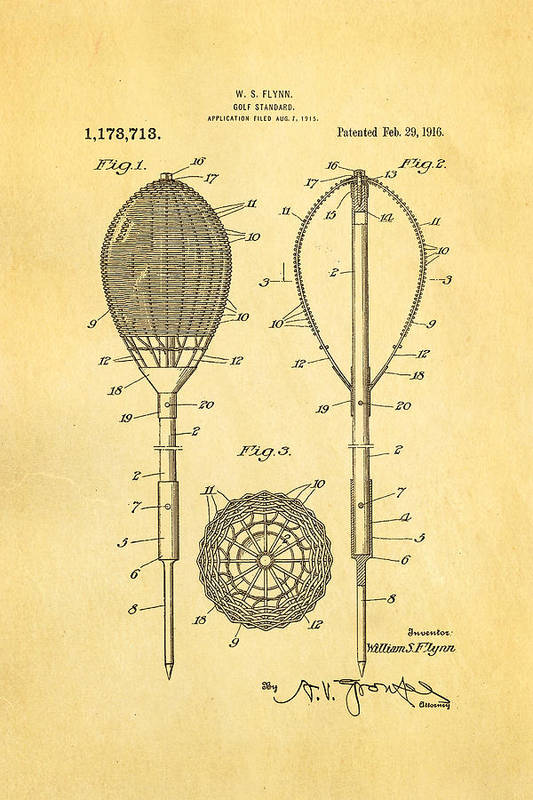 Famous Art Print featuring the photograph Flynn Merion Golf Club Wicker Baskets Patent Art 1916 by Ian Monk