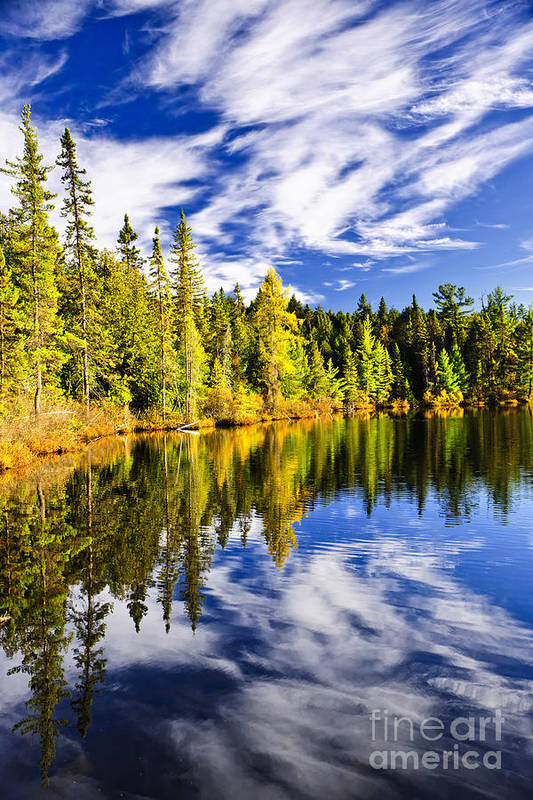 Lake Art Print featuring the photograph Forest And Sky Reflecting In Lake by Elena Elisseeva