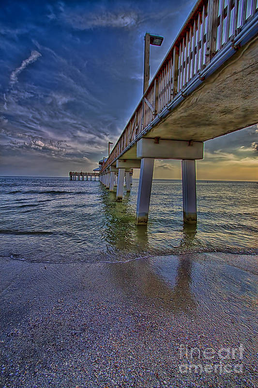 Fort myers beach pier art print by anne rodkin for Craft fair fort myers