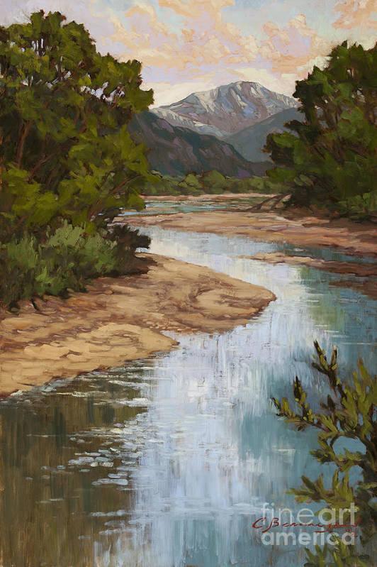 Pikes Peak Art Print featuring the painting Fountain Creek by Chula Beauregard