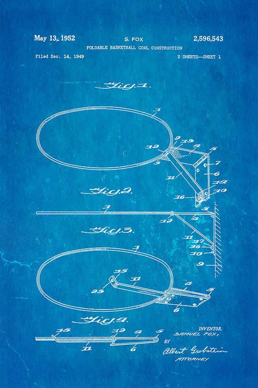Basket Ball Art Print featuring the photograph Fox Foldable Basketball Goal Patent Art 1952 Blueprint by Ian Monk