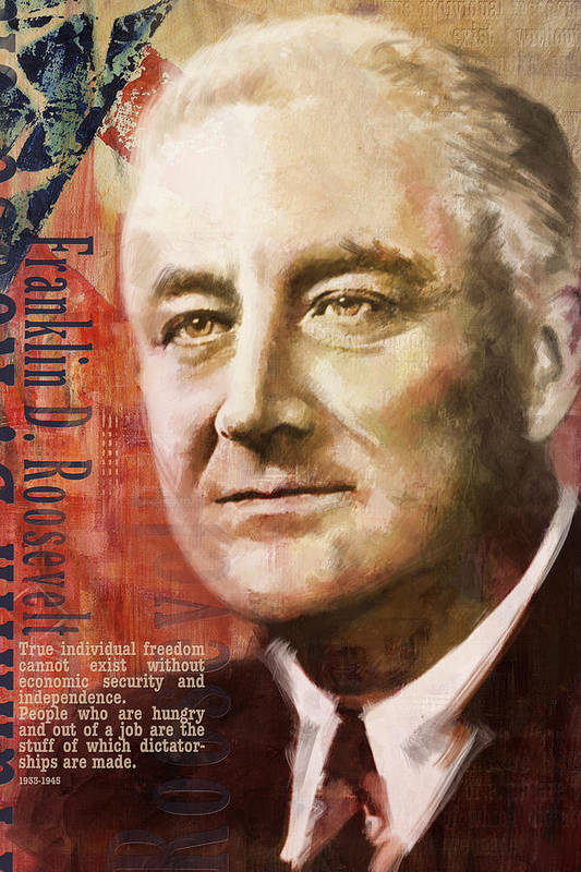 Franklin D. Roosevelt Print featuring the painting Franklin D. Roosevelt by Corporate Art Task Force