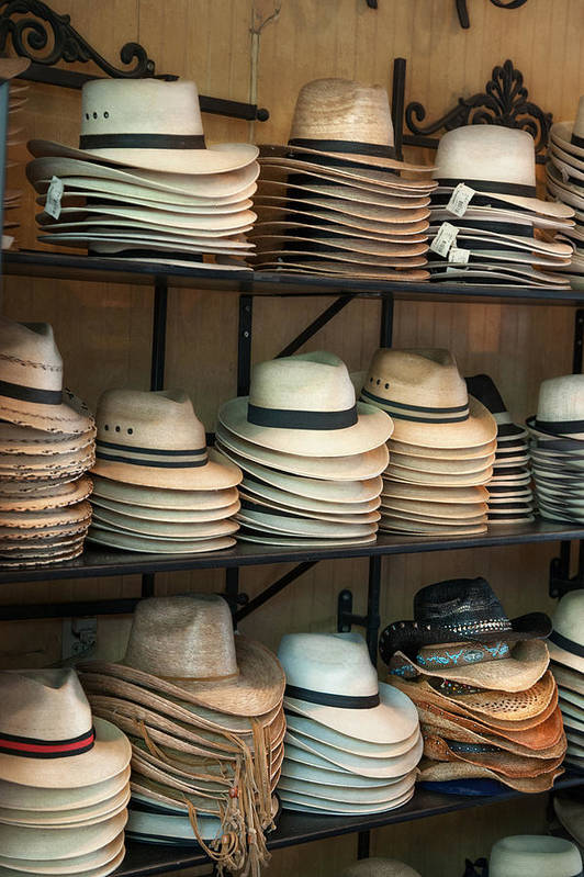 French Market Art Print featuring the photograph French Market Hats by Brenda Bryant