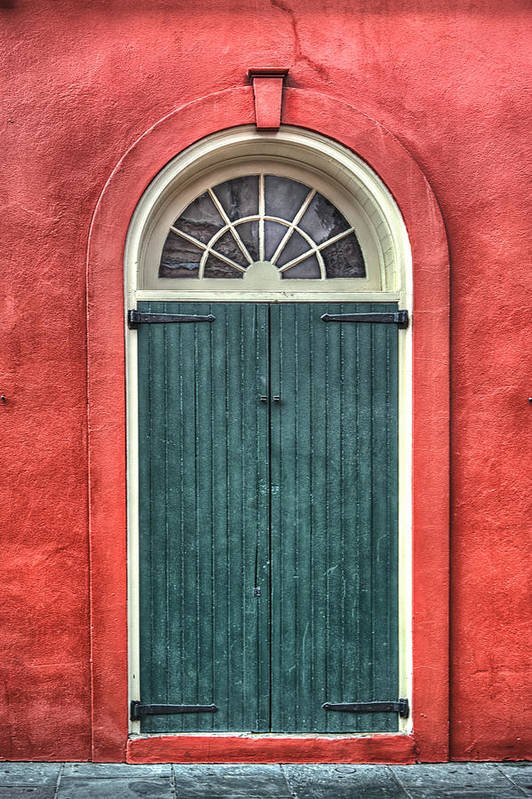 French Quarter Art Print featuring the photograph French Quarter Arched Door by Brenda Bryant