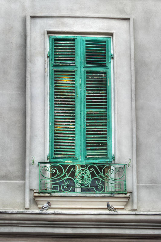 French Quarter Art Print featuring the photograph French Quarter Window In Green by Brenda Bryant