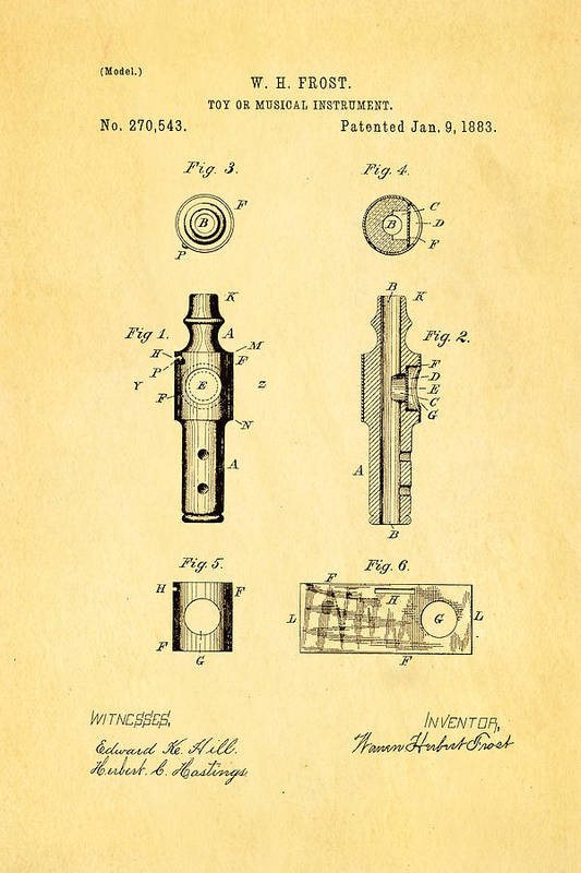 Famous Art Print featuring the photograph Frost Kazoo Patent Art 1883 by Ian Monk