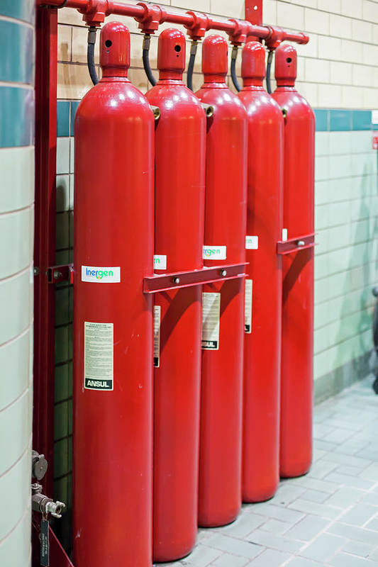 2016 Art Print featuring the photograph Gaseous Fire Suppression Cylinders by Jim West