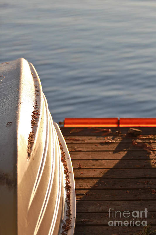 Little White Dinghy Art Print featuring the photograph Getting Ready For Winter. by Tracey Levine