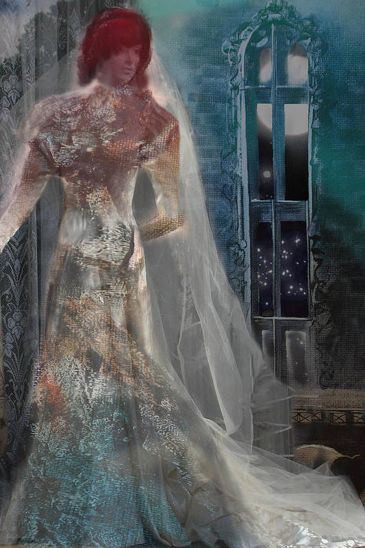 Ghost Art Print featuring the digital art Ghost Bride by Lisa Yount