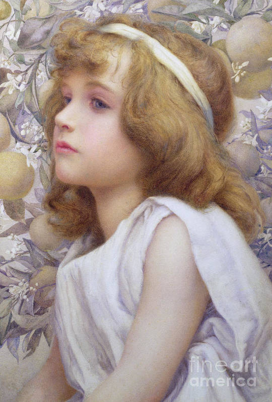 Child Art Print featuring the painting Girl With Apple Blossom by Henry Ryland