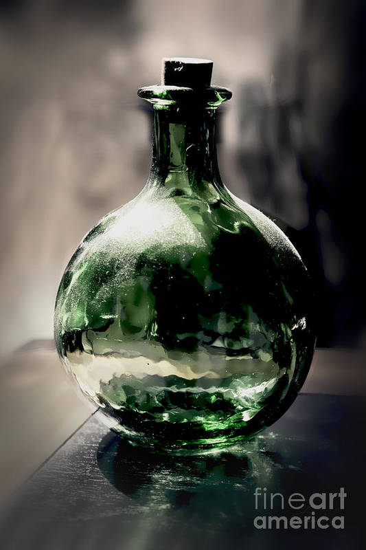 Reflection Print featuring the photograph Glass Bottle by Danuta Bennett