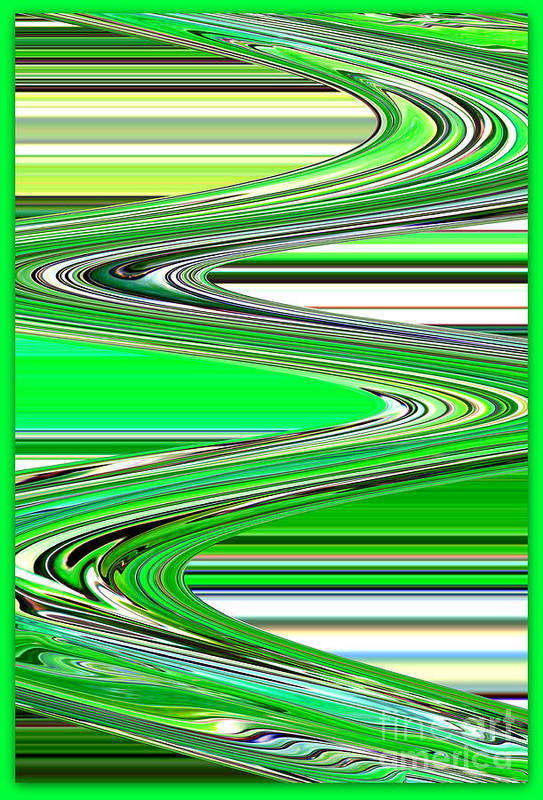 Green Abstract Art Print featuring the photograph Go With The Flow by Carol Groenen