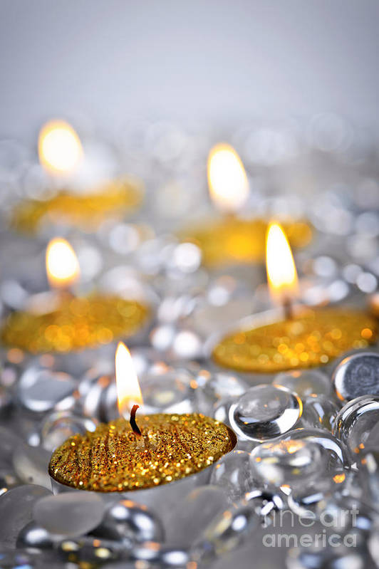 Candles Art Print featuring the photograph Gold Christmas Candles by Elena Elisseeva