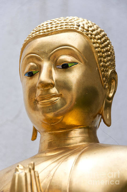 Buddhism Art Print featuring the photograph Golden Buddha Statue by Antony McAulay