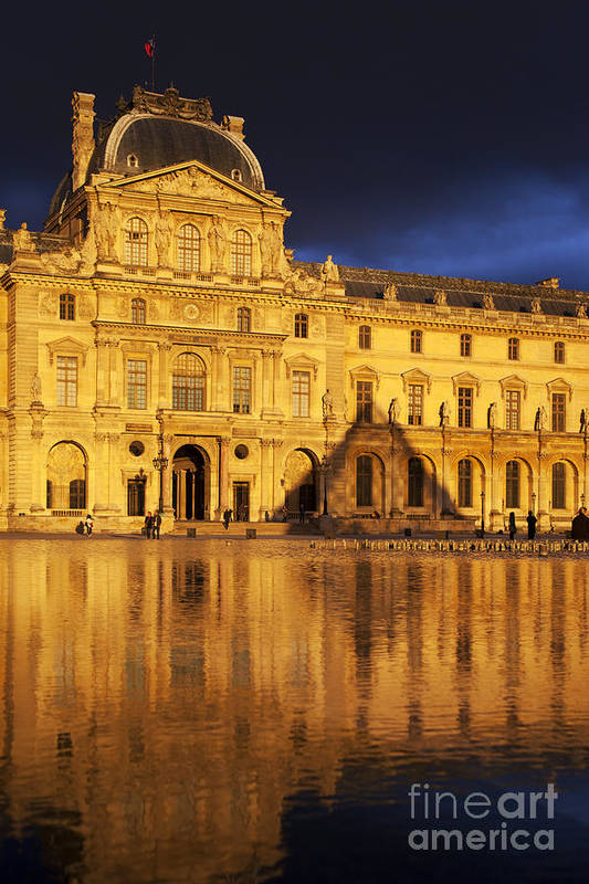Architectural Art Print featuring the photograph Golden Louvre - Paris by Brian Jannsen