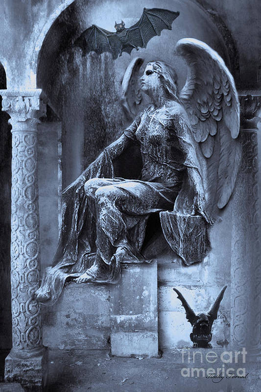 Gothic Angel Art Art Print featuring the photograph Gothic Surreal Cemetery Angel With Gargoyle And Bats by Kathy Fornal