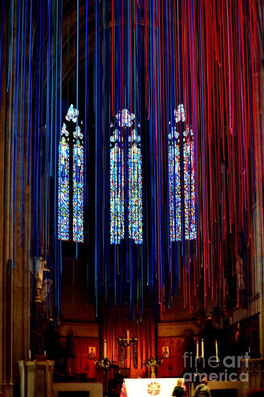 Grace Cathedral Art Print featuring the photograph Grace Cathedral With Ribbons by Dean Ferreira