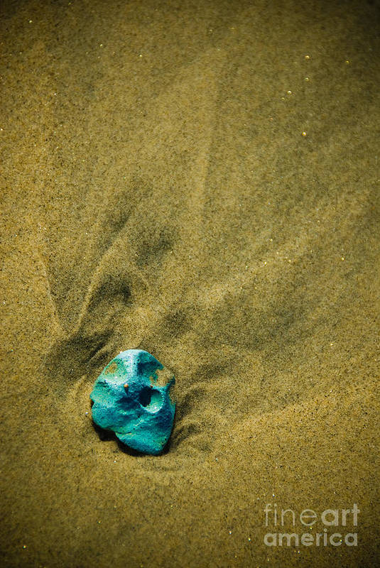 Sand Art Print featuring the photograph Green Stone by Cindy Tiefenbrunn