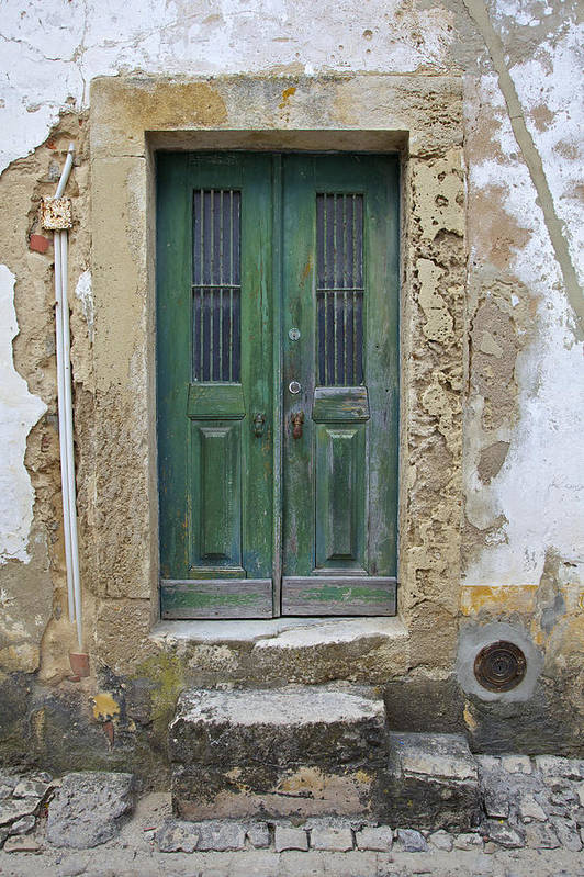 Art Art Print featuring the photograph Green Wood Door With Hand Carved Stone In The Medieval Village Of Obidos by David Letts
