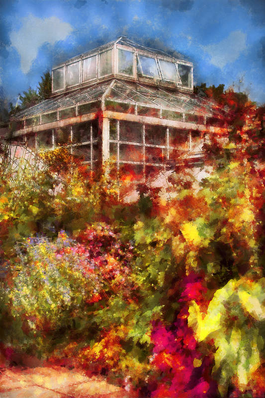 Savad Art Print featuring the digital art Greenhouse - The Greenhouse And The Garden by Mike Savad