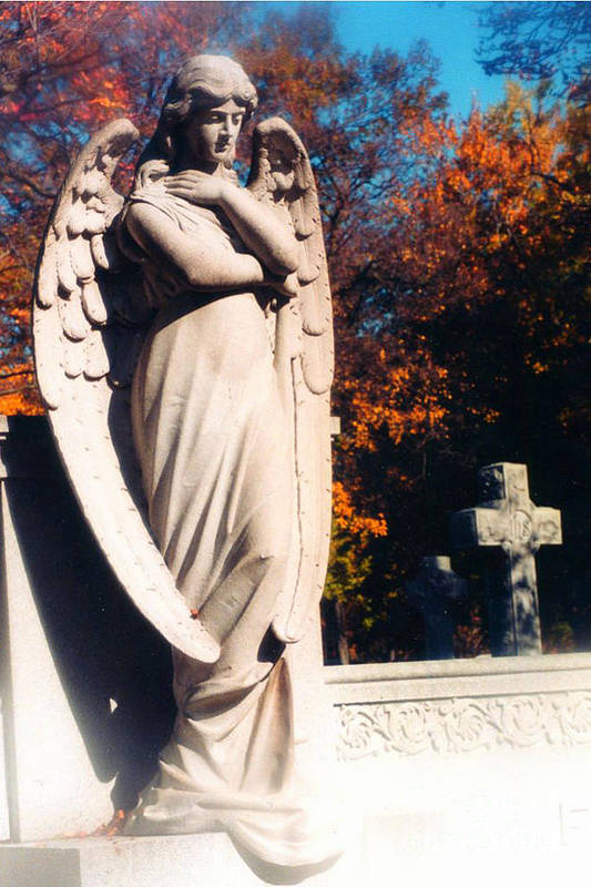 Angel Art Prints Art Print featuring the photograph Guardian Angel Statue With Cemetery Cross by Kathy Fornal