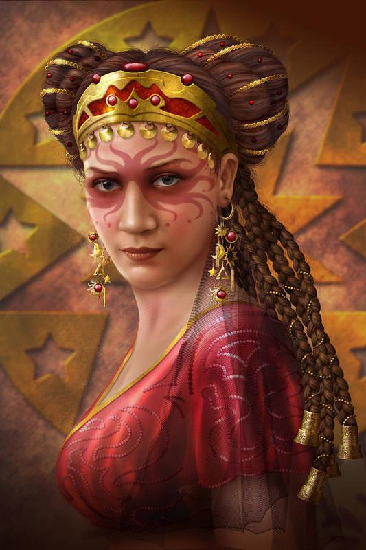 Ciro Marchetti Art Print featuring the digital art Gypsy Woman by Ciro Marchetti