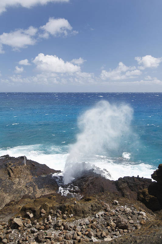 Blow Print featuring the photograph Halona Blowhole by Brandon Tabiolo