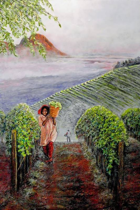 Vineyard Art Print featuring the painting Harvest At Dawn by Michael Durst