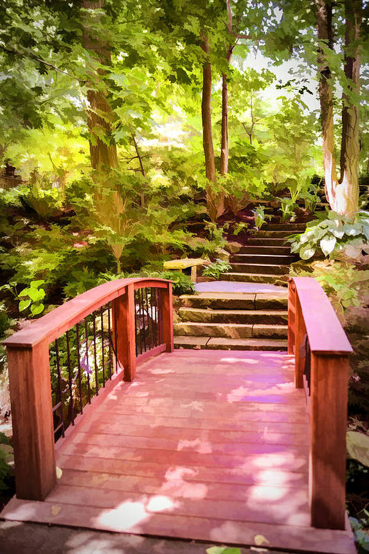 Walk Way. Bridge. Path. Steps. Stairs. Nature. Trees. Shrubs. Grasses. Water. River. Photography. Digital Art. Painting. Print. Canvas. Greeting Card. Poster. Cell Phone Covers. Art Print featuring the photograph Heavens Walkway by Mary Timman
