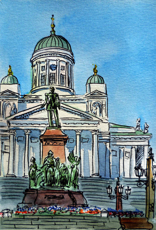 Finland Art Print featuring the painting Helsinki Finland by Irina Sztukowski